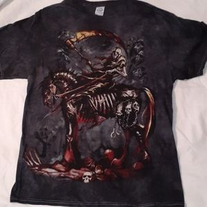 Grim Reaper Riding a Zombie Horse T-Shirt Large
